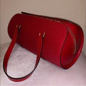 Louis Vuitton Round Handbag red epi leather